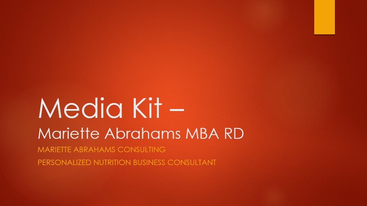 Media kit - Mariette Abrahams