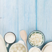 40008960 - dairy products on wooden table. sour cream, milk, cheese, yogurt and butter. top view with copy space