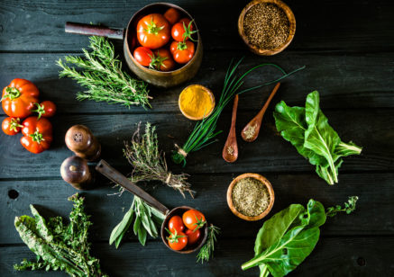 44693362 - vegetables on wood. bio healthy food, herbs and spices. organic vegetables on wood